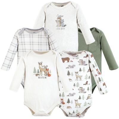 Hudson Baby Infant Boy Cotton Long-Sleeve Bodysuits, Forest Animals