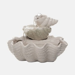 """9"""" Ceramic Tiered Shell Fountain White - Foreside Home & Garden"""