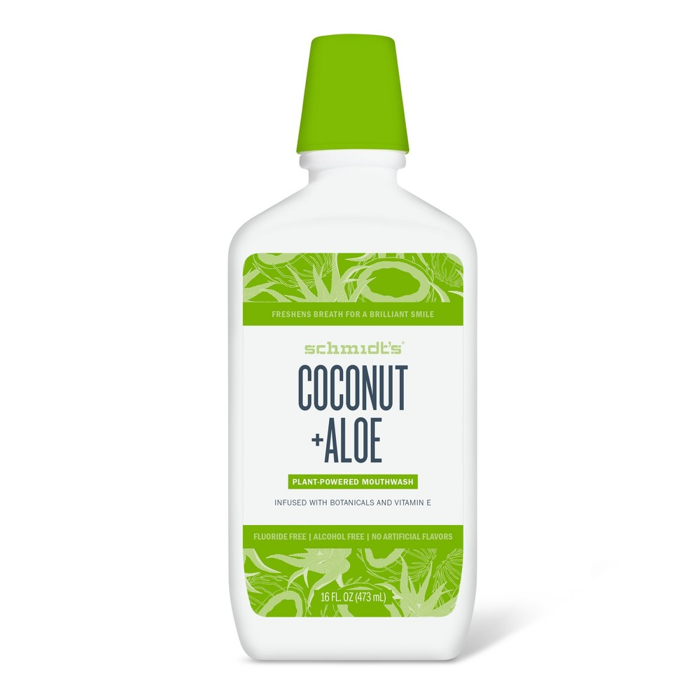 Image of Schmidt's Coconut + Aloe Plant-Based Fluoride-Free & Alcohol-Free Natural Mouthwash - 16oz