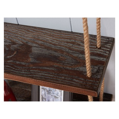 Brannon Modern Pine Wood Floating Wall Shelf 24  in Gray and Walnut Finish - Armen Living