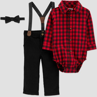 Baby Boys' Buffalo Plaid Top & Bottom Set with Bowtie - Just One You® made by carter's Red/Black 9M