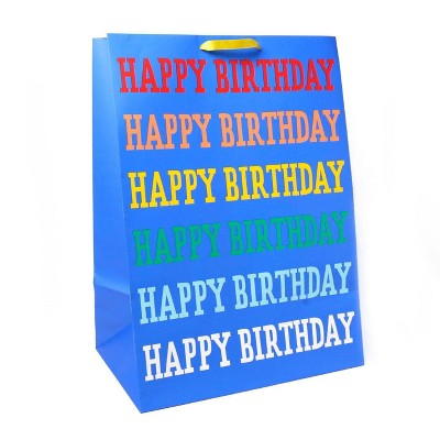 'Happy Birthday' Rainbow Verbiage on Colossal Gift Bag Blue - Spritz™