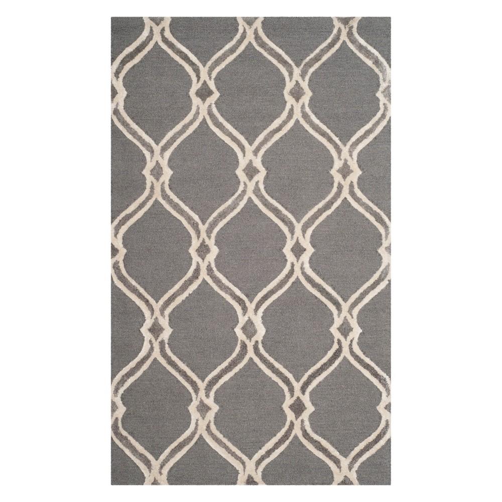 3X5 Geometric Accent Rug Dark Gray/Ivory - Safavieh Promos