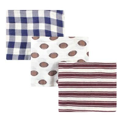 Hudson Baby Unisex Baby Cotton Muslin Swaddle Blanket - Cream Football One Size