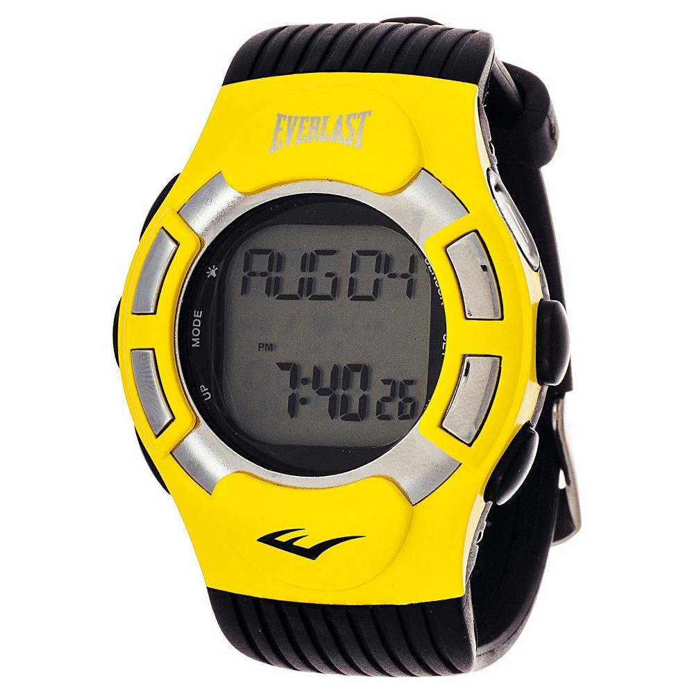 Everlast is the first choice for serious health and sports enthusiasts. Step up your fitness game with this dynamic Wireless Fitness Tracker Watch. This casual timepiece features a digital time display. Say hello to Everlast's Wireless Fitness Tracker Watch, your new workout buddy! Color: Yellow. Gender: male. Age Group: adult.