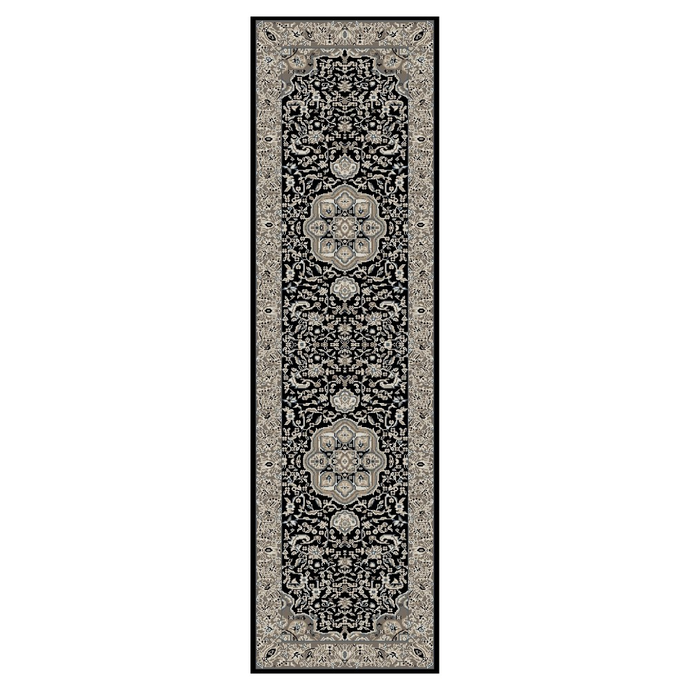 Image of Black Classic Woven Area Rug - (2'X8') - Art Carpet, Size: 2'X8' RUNNER