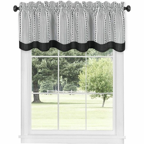 Kate Aurora Living Country Farmhouse Striped Window Valance Curtain Treatments - Assorted Colors - image 1 of 3