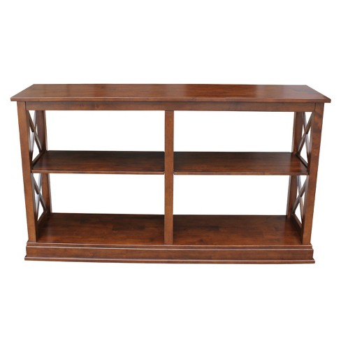Hampton Square Sofa Table With Shelves Espresso International Concepts Target