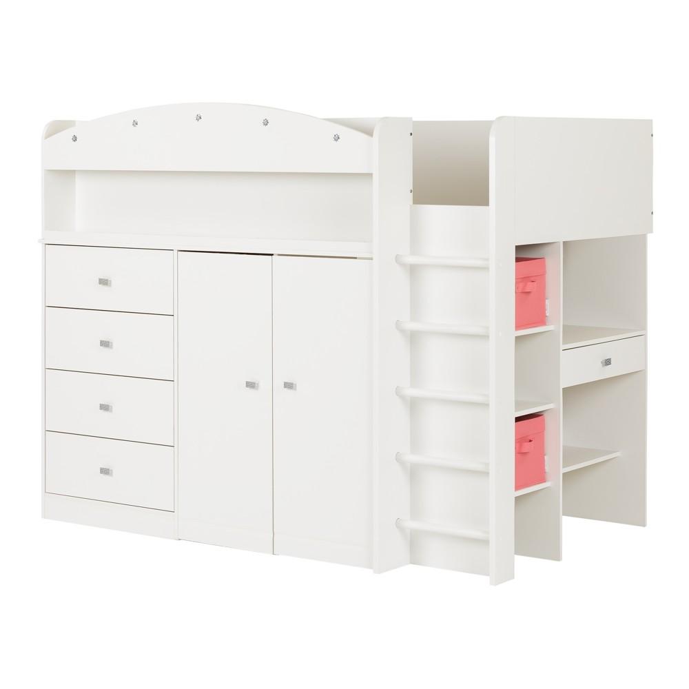 Tiara Loft Bed With Desk Twin Pure White - South Shore