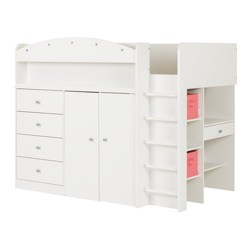 Tiara Loft Bed With Desk Twin Pure White - South Shore