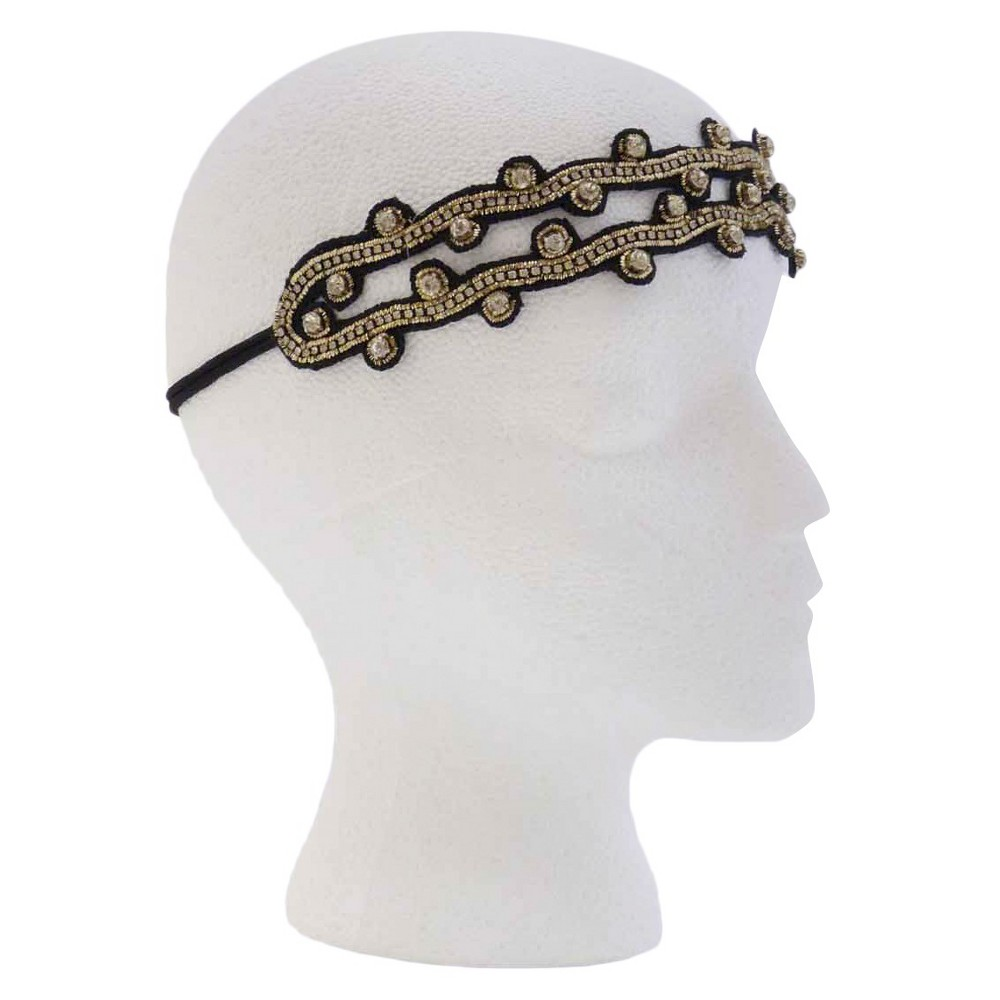 Pink Pewter Gold and Black Stretch Headband, Women's