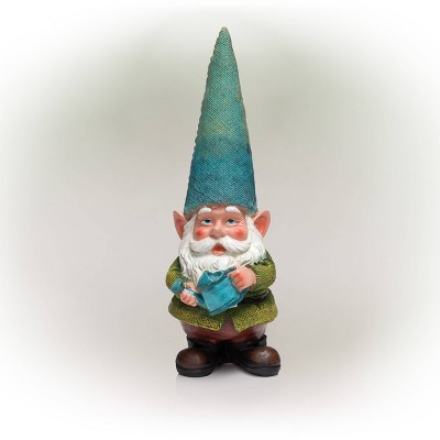 """15"""" Outdoor Polyresin Garden Gnome with Watering Can - Alpine Corporation"""