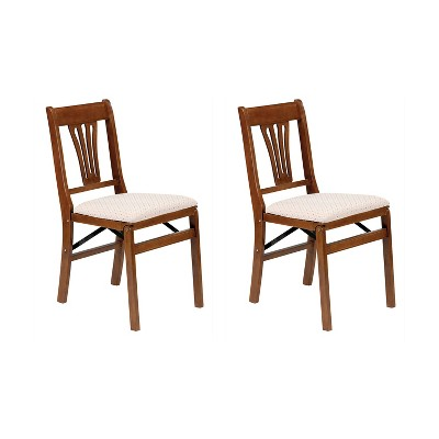MECO Stakmore Urn Premium Solid Wood Dining Table Folding Chair Set with Fabric Padded Upholstered Seat, Fruitwood/Blush (2 Pack)