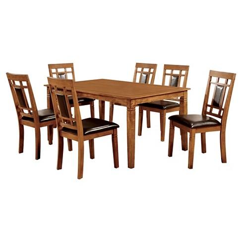 MiBasics 7pc Square Dining Table Set Wood Light Oak