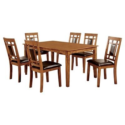 MiBasics 7pc Square Dining Table Set Wood/Light Oak