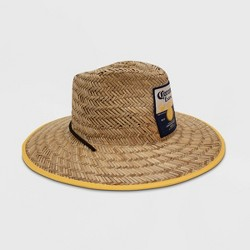Men's Camo Print Corona Lime Lifeguard Straw Fedora Hat - Natural One Size