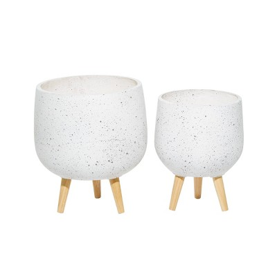 Set of 2 Contemporary Wood Oval Bowl Planters - Olivia & May