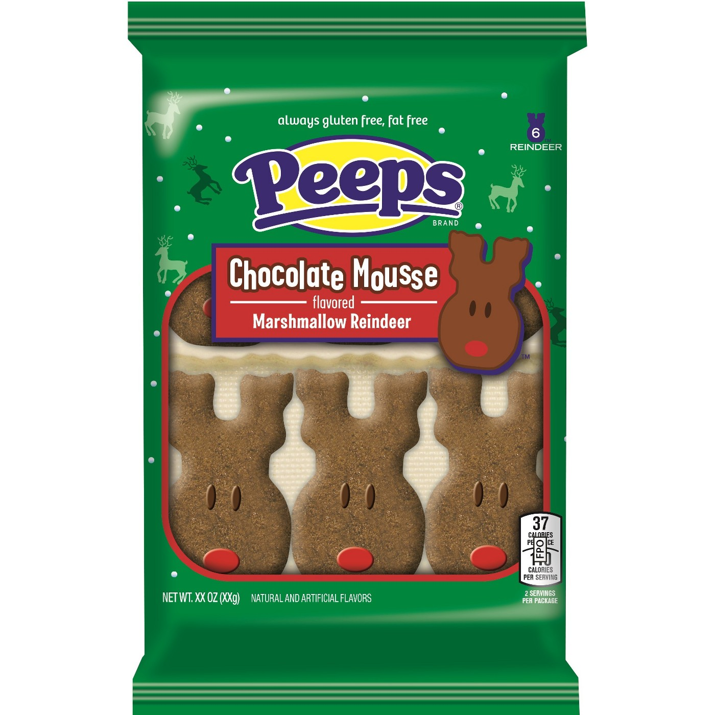 Peeps Christmas Chocolate Mousse Reindeer - 6ct/2.375oz - image 1 of 1