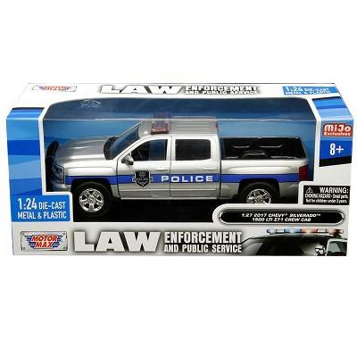 """2017 Chevrolet Silverado 1500 LT Z71 Crew Cab Police Silver """"Law Enforcement & Public Service"""" 1/24 Diecast by Motormax"""