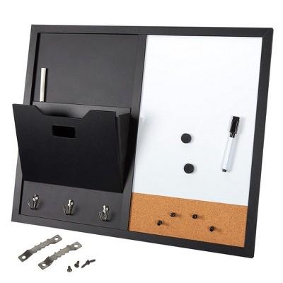 Juvale Message Center Bulletin Board, Magnetic Whiteboard, Chalkboard, Mail Holder, Corkboard, Key Hook