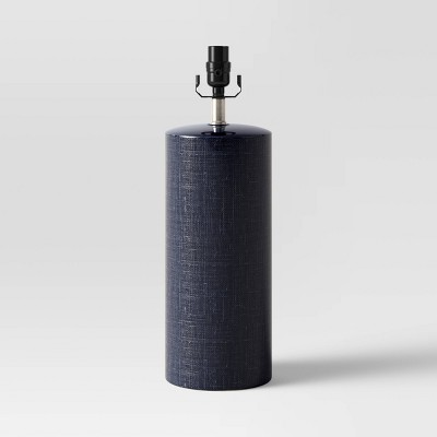 Linen Textured Ceramic Large Lamp Base Dark Blue - Threshold™