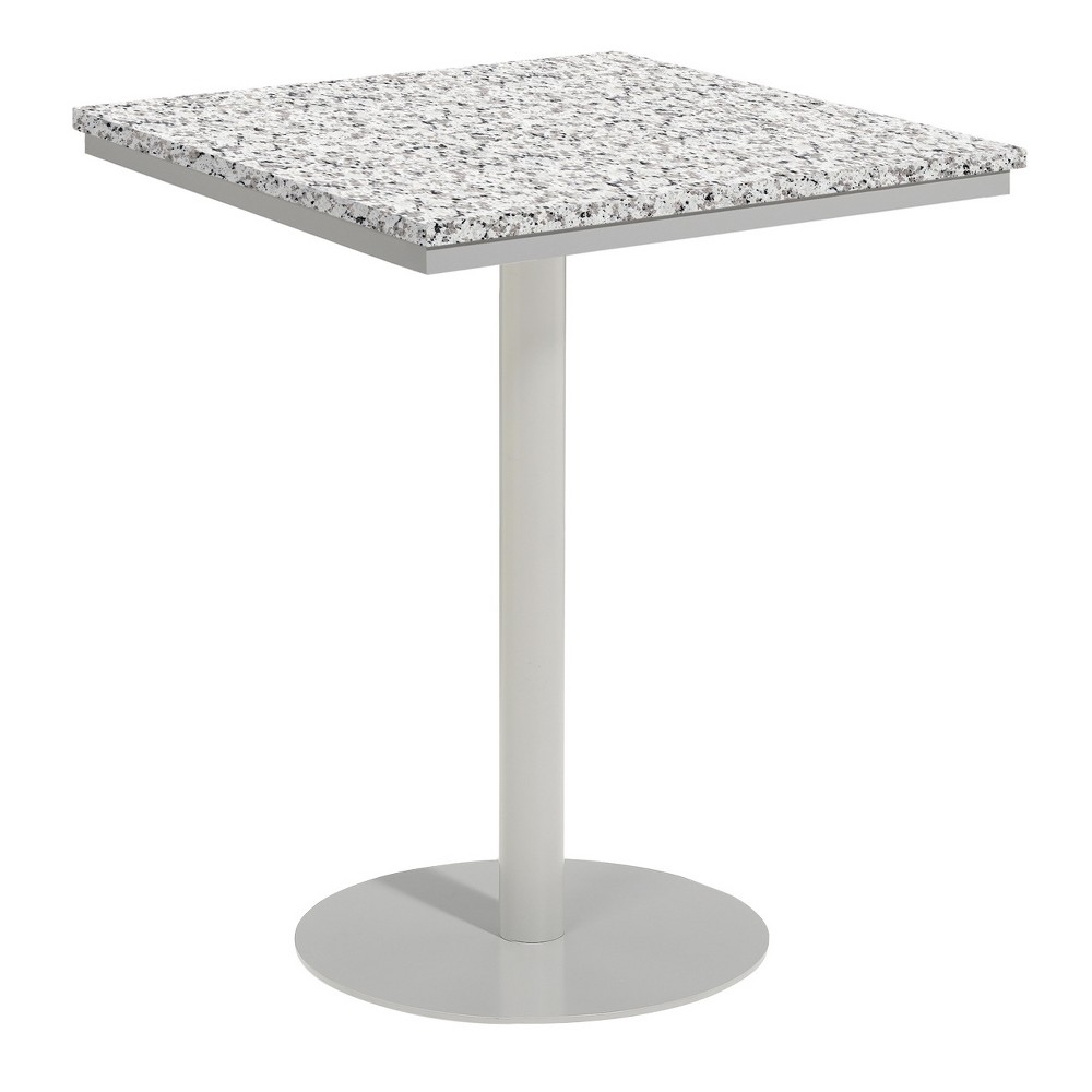 Travira 32 Square Patio Bar Table - Powder Coated Steel Frame - Lite-Core Granite Ash Top - Oxford Garden, Ash Tabletop