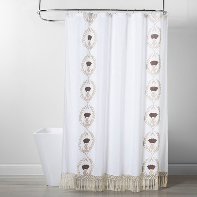 Embroidered & Tassel Pattern Opaque Shower Curtain White - Opalhouse™