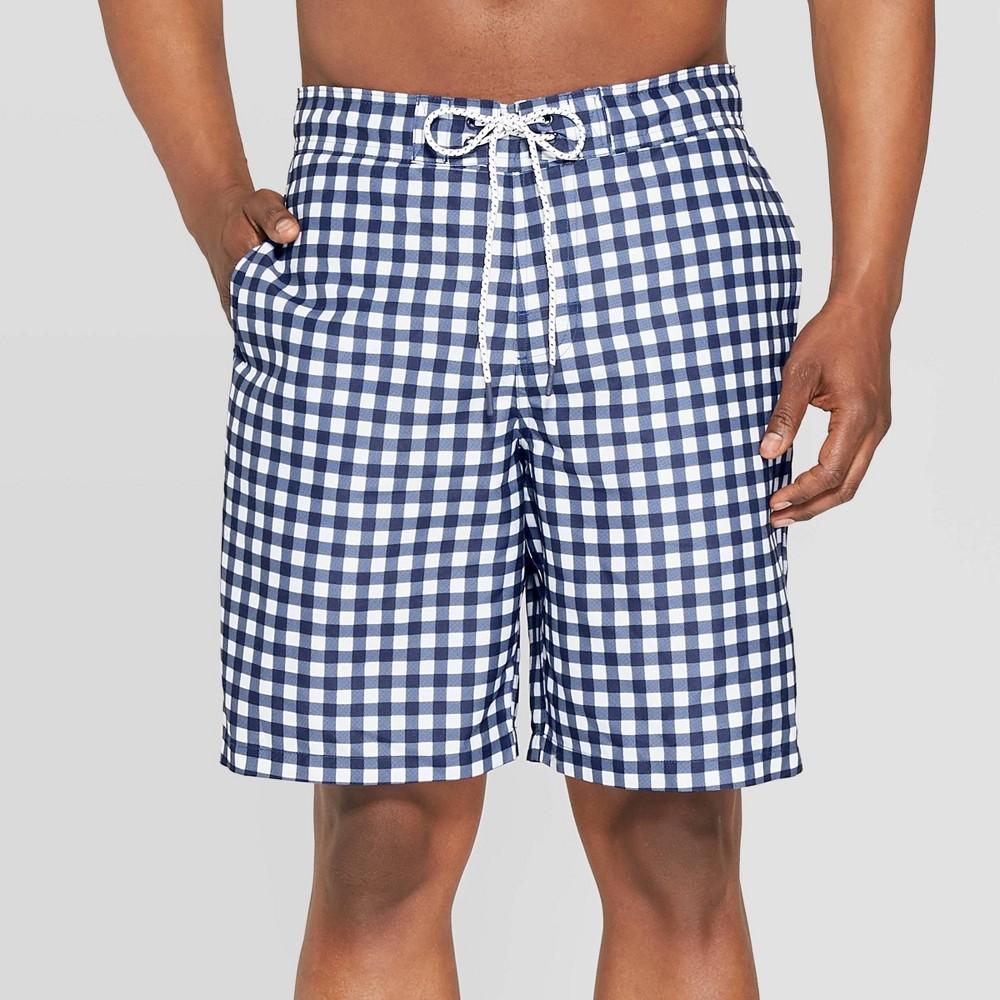 0b7f959eba Mens 9 Plaid Swim Shorts Navy XS Blue