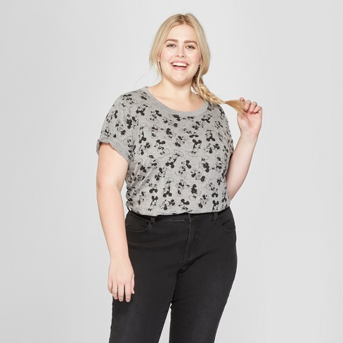 Women's Disney Plus Size Short Sleeve Mickey Mouse Print T-Shirt (Juniors') Heather Gray - image 1 of 2