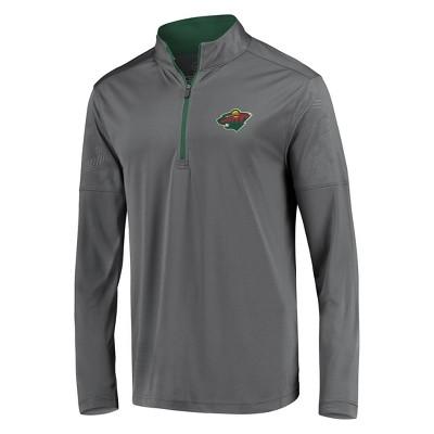 NHL Minnesota Wild Men's Defender Embossed 1/4 Zip Sweatshirt - Gray