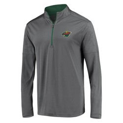 NHL Minnesota Wild Men's Defender Embossed 1/4 Zip Sweatshirt - Gray
