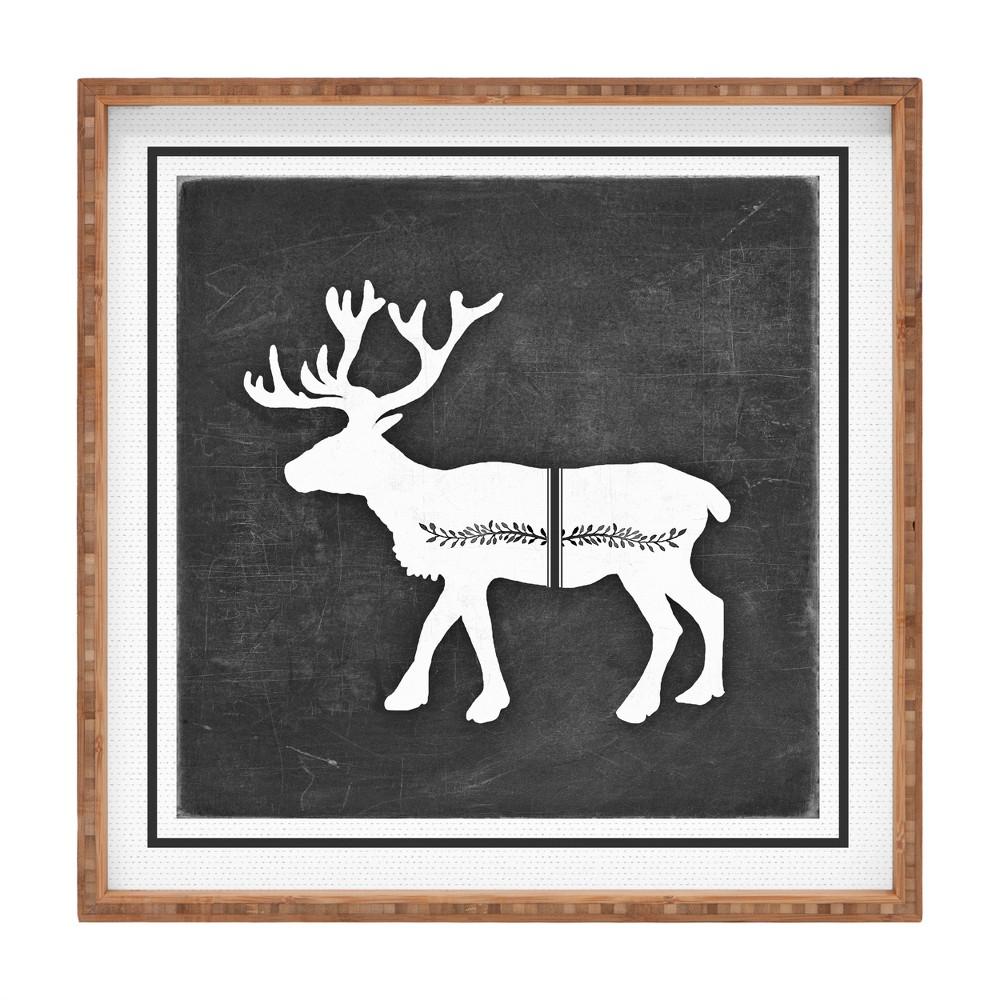 Monika Strigel Farmhouse Reindeer Tray (16) - Deny Designs, Black