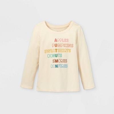 Toddler Girls' Autumn Long Sleeve Graphic T-Shirt - Cat & Jack™ Sand