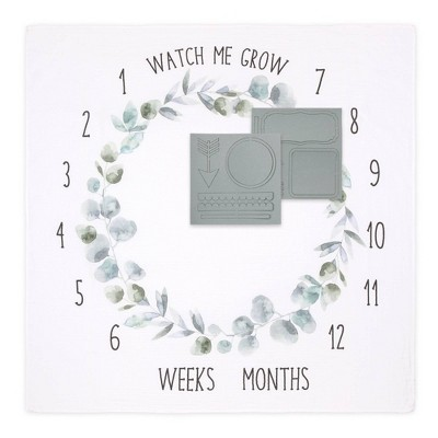 The Peanutshell Farmhouse Milestone Blanket Watch Me Grow - Green