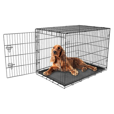 Carlson Compact and Secure Single Metal Door Dog Cage - Intermediate - Black