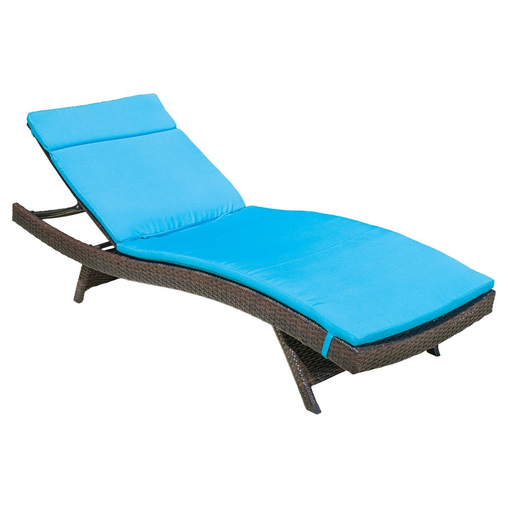 Salem Brown Wicker Adjustable Chaise Lounge - Blue - Christopher Knight Home