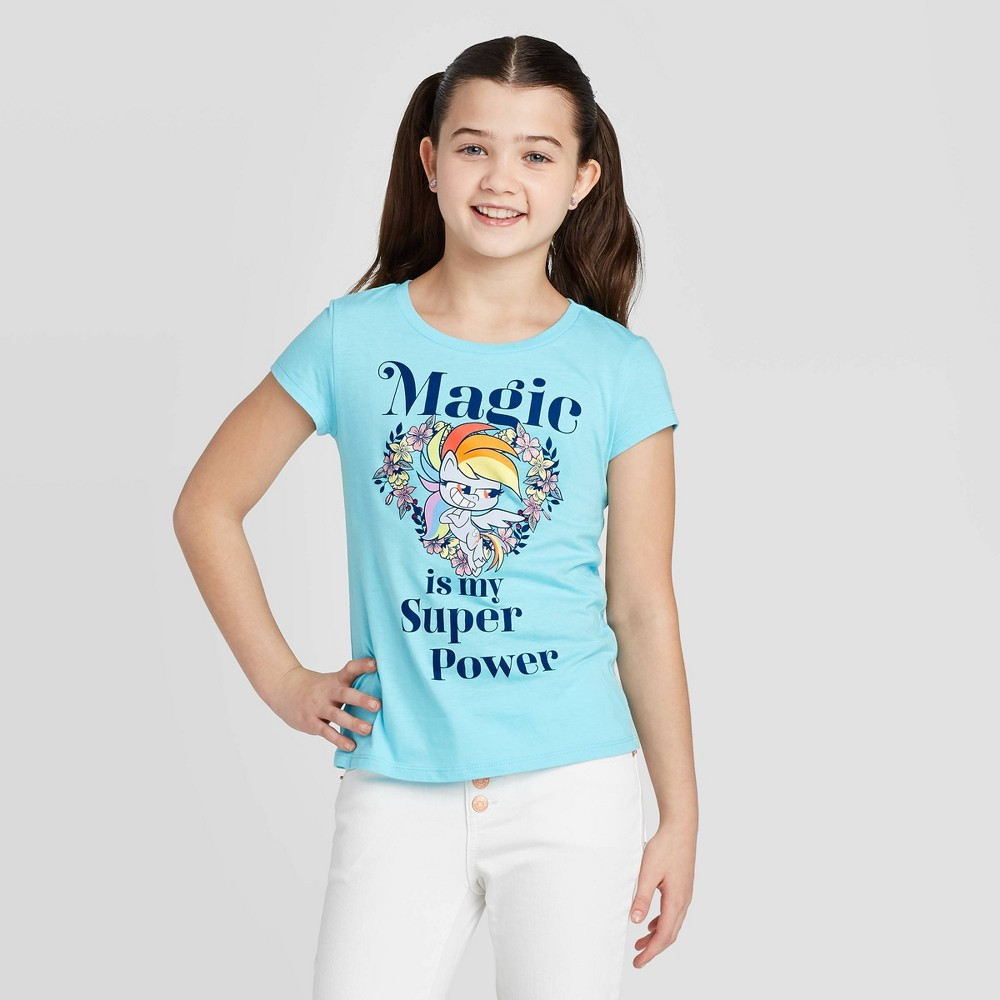 Image of Girls' Hasbro My Little Pony Rainbow Dash T-Shirt - Blue, Girl's, Size: Large