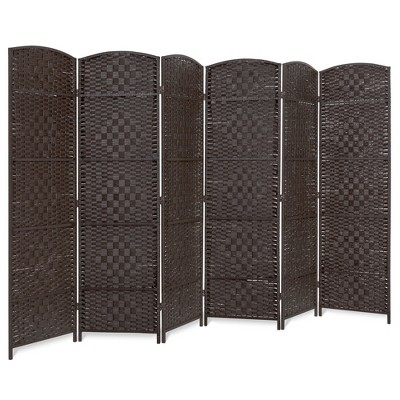 Best Choice Products 6ft Tall Freestanding Room Divider, 6-Panel Diamond Weave Folding Privacy Screen - Dark Mocha