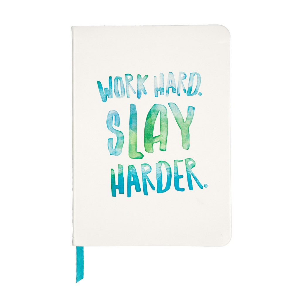 Image of 30 Watt Lined Journal White Faux Leather - Work Hard Slay Harder