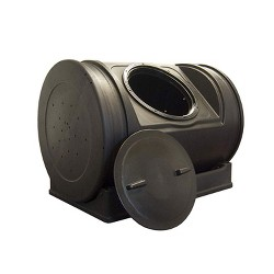 Good Ideas Compost Wizard Jr Large Outdoor Patio and Garden Bin Container, Black
