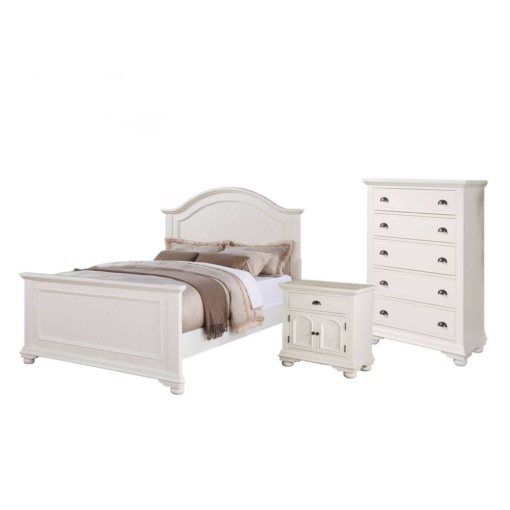 Image of 3pc Queen Addison Panel Bedroom Set Dove White - Picket House Furnishings