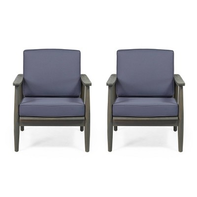 Willowbrook 2pc Acacia Wood Club Chairs - Gray/Dark Gray - Christopher Knight Home