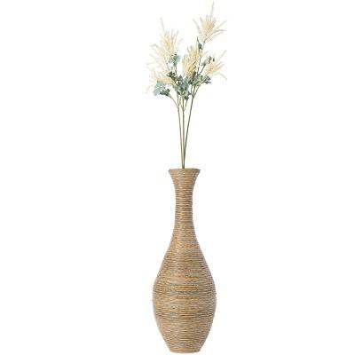 Uniquewise 38 Inch Tall Trumpet Design Artificial Rattan Floor Vase Beige
