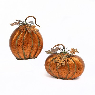 Gerson International Set of 2 Assorted Metal Harvest Tabletop Pumpkins with Leaf Accents