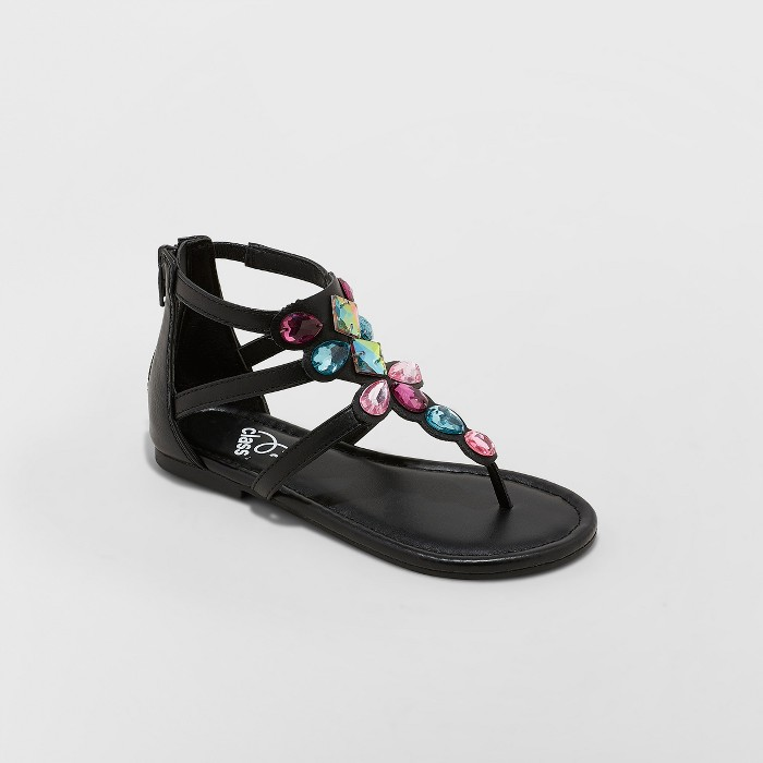 Girls' Star Wars Leia Embellished Ankle Strap Sandals - art class™ Black - image 1 of 4