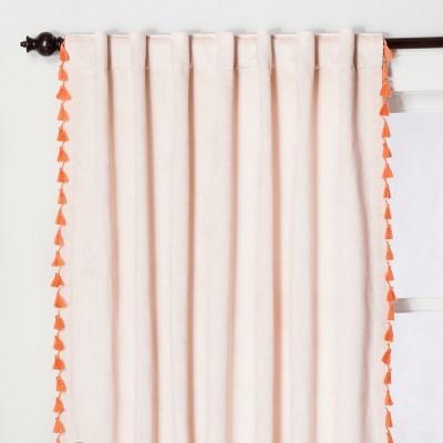 Velvet Curtain Panel with Orange Tassels Blush Pink 63  - Opalhouse™