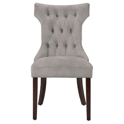 Set of 2 Tufted Hourglass Dining ChairTaupe - Dorel Living