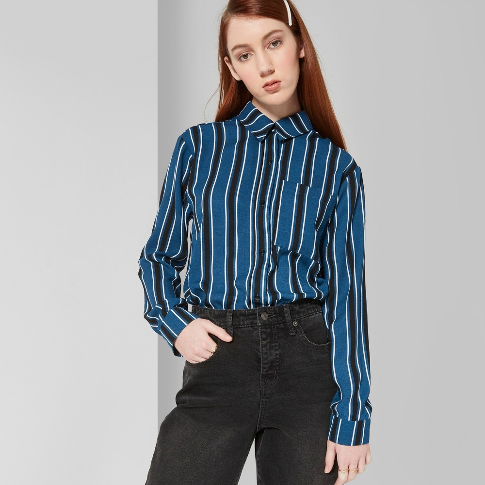 Women's Striped Long Sleeve Tie Front Button-Down Shirt - Wild Fable Blue XS
