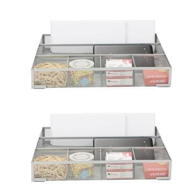 Mind Reader 2pc Mesh Deep Desk Drawer Organizer Silver