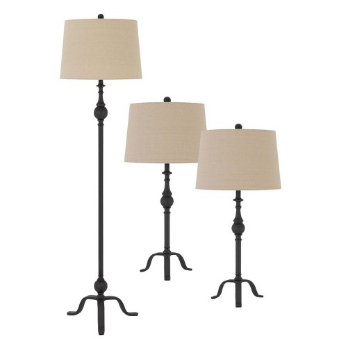 """61.5"""" Metal Floor Lamp with 31"""" (Set of 2) Matching Table Lamps with Hardback Linen Shades Tan - Cal Lighting - image 1 of 3"""